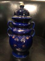 Vintage Japanese porcelain HANDPAINTED URN* - Cobalt Blue W/ Gold Accents