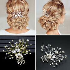 Women Pearl Hair Combs Pin Rhinestone Tiara Crystal Crown Bride Hair Jewelry