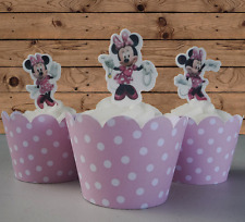 #565. Minnie Mouse pink spotty dress EDIBLE wafer stand up cupcake cake toppers