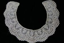 Early antique lace Point de Gaze collar 1800s handmade heirloom lace