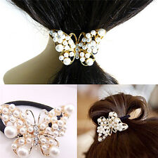 Crystal Rhinestone Pearl Flower Hair Band Rope Elastic Ponytail Holder Fad DX