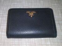 Prada Portafoglio Lampo Nero Calf Leather Wallet