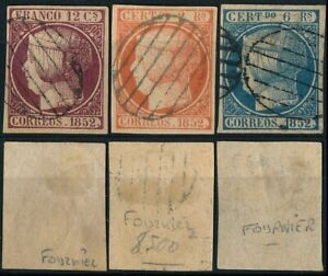 SPAIN, CLASSIC SCARCE LOT OF 3 DIFF. FOURNIER FORGERIES USED STAMPS.    #M445