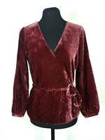 NEW J Crew Womens Size 2 Velvet Blouse Faux Wrap Draped Top Burgundy Wine Red XS