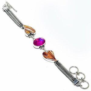"""Pink Mystic Topaz, Peanut Wood Heart Gemstone Jewelry Bracelet 7-8"""" ZB-584"""