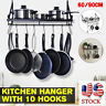 Kitchen Wall Mounted Pot Pan Rack Holder Cookware Storage Shelf Hanger 10 Hook