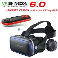 VR SHINECON 6.0 Virtual Reality VR with Headset 3D Glasses + Remote Controller