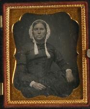 DAGUERREOTYPE GRIM WOMAN IN BONNET. 9TH PLATE, FULL UNION CASE.