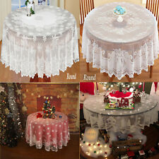 White Vintage Lace Tablecloth Round Table Cloth Cover Topper Wedding Party 178cm