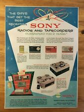 2 CANADIAN SONY TRANSISTOR RADIO ADS MANY MODELS SHOWN 1962  1965 TR-630 TR-608