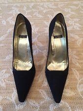 Stuart Weitzman Size 8.5 Black Satin 4 Inch Heel