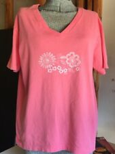 Fresh Produce Women's Top Size XL Shirt Peach V-neck T-shirt with flowers Tee