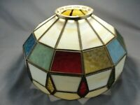 Vintage Leaded Stained Slag Glass Pendant Chandelier Shade Mint 12 Panel Sides