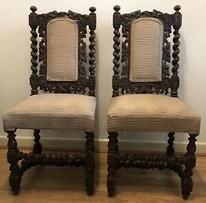 Two Vintage Carved Oak Barley Twist Hall Side Chairs Victorian Jacobean Style