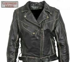 "NEW Mens Antique Brown Armored Vented Leather Motorcycle Jacket 46"" CHEST= XL"