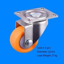 Orange Nylon Swivel Casters Castor Wheel 32mm, 17kg, 4pcs Pack