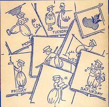 Dutch Boys for Days of the Week dish towels 135 iron on Embroidery transfer repo