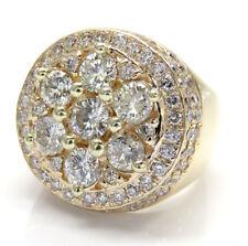 4.50ct Mens 14k Yellow Real Gold si2 Big Diamond Cluster Ring