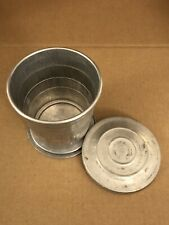 Vintage Collapsible Aluminum Camping Cup With Lid, Holds Fluid Well
