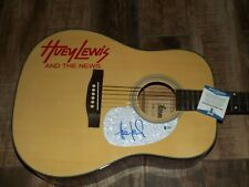 HUEY LEWIS AND THE NEWS signed guitar AUTOGRAPHED ACOUSTIC  BAS BECKETT COA