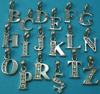 925 Sterling Silver CZ Letter Initial Charm Pendant Alphabet Pendants