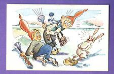 LATVIA LETTLAND Gnomes and Rabbit VINTAGE POSTCARD 1628