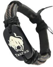 D1229 Taurus surfer adjustable black leather bracelet with hemp chain