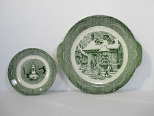 Old Curiosity Shop Green Cake Plate Saucer Royal China Transferware Set of 2