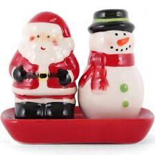 Noël Xmas Santa Bonhomme de neige sel et poivre Cruet Set shakers pots mignon