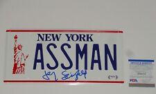 JERRY SEINFELD SIGNED ASSMAN NEW YORK LICENSE PLATE FULL SIGNATURE PSA COA
