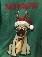 United States Sweaters Holiday Women's L Ugly Christmas Sweater Pug Dog Green