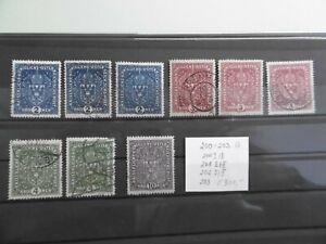 Öst. ANK 200-203 Wappen I u. II Hoch-und Breitformat  gestempelt E 300
