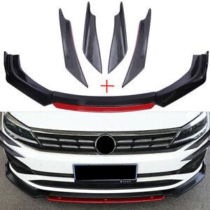 Carbon Fiber Front Bumper Lip Splitter + 4x Fin Canard Diffuser Valence Spoilers