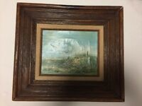 Vintage Original Beach Scene Seascape Oil Seagull Painting Framed Signed Conden