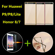 9H Tempered Glass Screen Guard + Shookproof TPU Case For Huawei P9 P8 HONOR 8 /7
