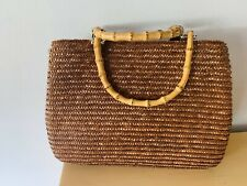 Preston & York Handbag Purse Bamboo Handle Pink Straw Pre Owned