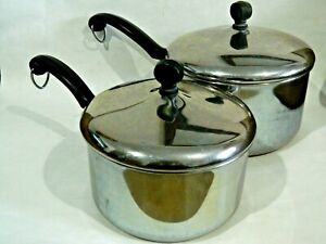 Farberware Aluminum Clad Stainless Steel  Cookware 3qt and 2qt Pots with Lids