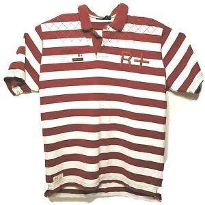 Vintage Rocawear Polo Shirt R+ Logo New York RCWR Men's XL Orange White Striped