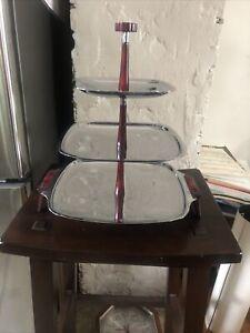 Vintage Glo Hill Gourmets Mid Century crome tray bakelite handle