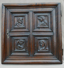 17th Century French Antique Hand Carved Wood Church Sacristy Door Panel