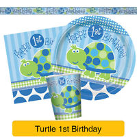 BLUE TURTLE 1ST BIRTHDAY - First Birthday PARTY RANGE (Decorations & Tableware)