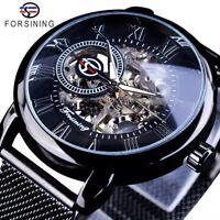 HERREN ARMBANDUHR Edelstahl Armband - Handaufzug Mechanisch Skelett Stil Schwarz