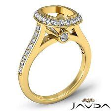 18k Yellow Gold Cushion Diamond 0.8Ct Engagement Halo Bezel Set Semi Mount Ring