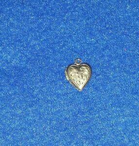 Vintage Sterling Silver Heart Locket Pendant Etched