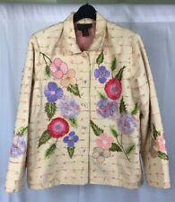 Alex Kim Womens Yellow Floral Blazer Coat Embroidered Mixed Media Plus Size 2X