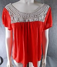 Womens sz L American Eagle Outfitters Crochet Smock Shirt red white s28-gb3