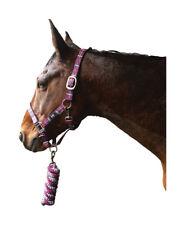 HY Tartan Head Collar With Lead Rope Full Raspberry/white/navy 13121