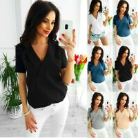 Summer Womens Sexy Tops Blouse Ladies Holiday Formal Work Short Sleeve T-Shirt
