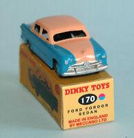DINKY TOYS Meccano UK original 1956 FORD FORDOR SEDAN 170 Blue Pink Highline BOX