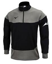 Mizuno Men Half-Zip Warm-Up Jacket L/S Jersey Gray Tee Casual Shirt P2MC9K5290